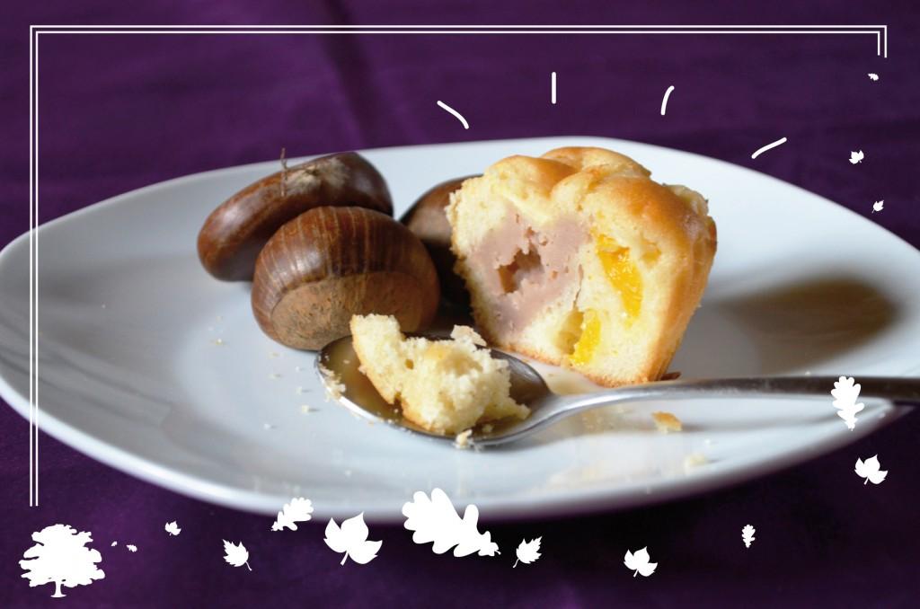Muffins mandarine - cœur fondant à la châtaigne